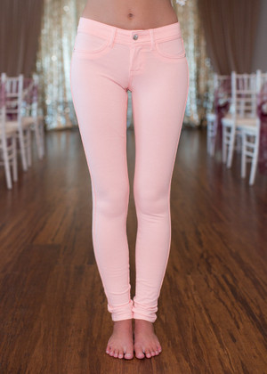 Most Favored Peach Fitted Jeggings