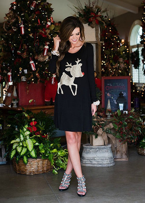 Rudolph the Red Nose Reindeer Tunic Black