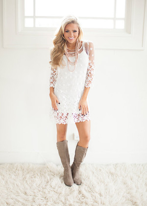 Laced with Flowers Dress White CLEARANCE