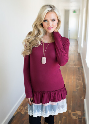 Baby Doll Lace Tunic Dress Burgundy CLEARANCE
