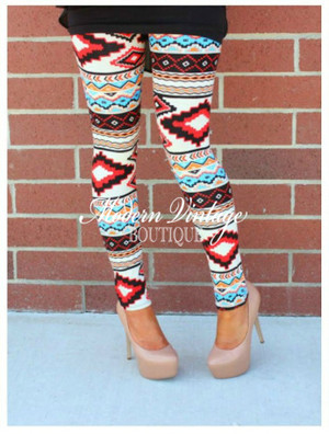 Aztec Red Leggings CLEARANCE