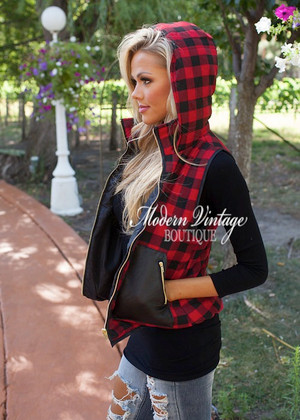 Black and Red Checkered Hooded Vest CLEARANCE
