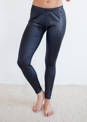Black Faux Pleather Leggings