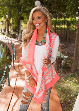 Neon Pink Patterned Vest CLEARANCE