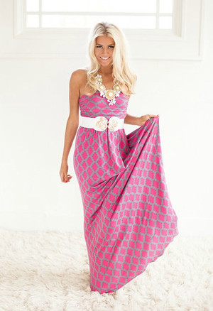 So Beautiful To Me Maxi Dress Gray/Pink CLEARANCE