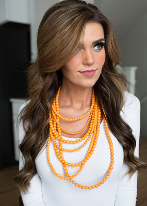 Layers and Dangles Pearl Set Orange CLEARANCE