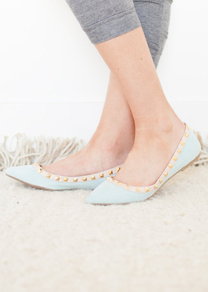 Pastel Blue Studded Flats CLEARANCE