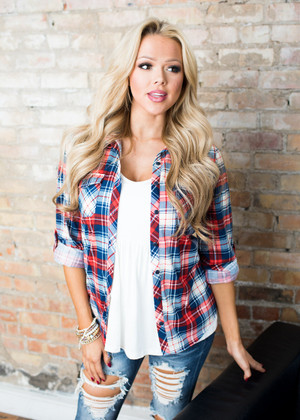 Red White and Blue Plaid Top CLEARANCE