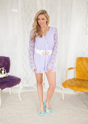 Flawless Lace Romper in Lilac CLEARANCE