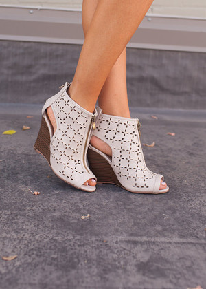 Easy on the Eyes Wedges in Taupe CLEARANCE