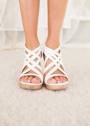 Dainty White Wedges CLEARANCE