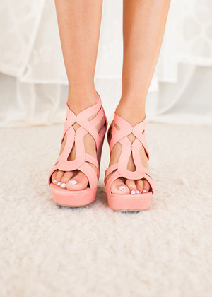 Spring Showers Wedges in Coral CLEARANCE