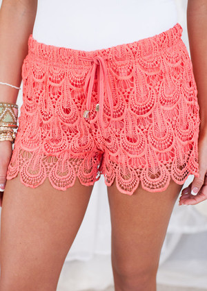 Lush Scalloped Coral Crochet Shorts CLEARANCE