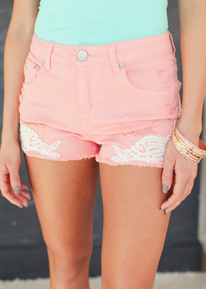 Glam and More Shorts in Salmon Pink CLEARANCE