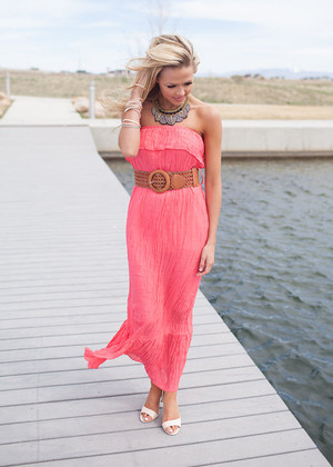 Perfect Lake Maxi Dress Coral CLEARANCE