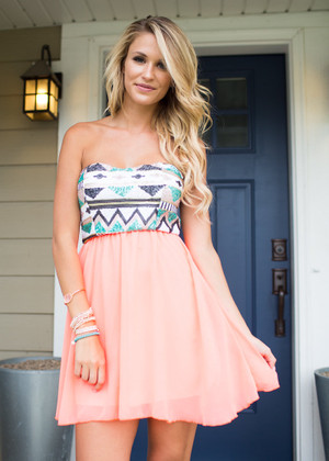 Aztec Top Sequins Dress Neon Coral CLEARANCE
