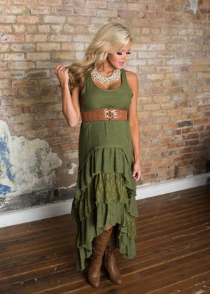 Country Club Ruffle Lace Dress Olive