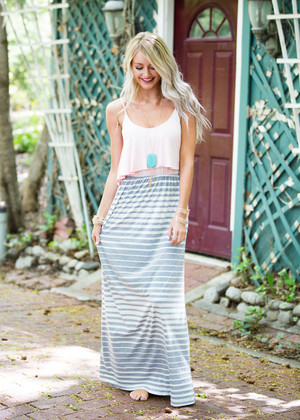 Pink Topped Maxi with Gray CLEARANCE