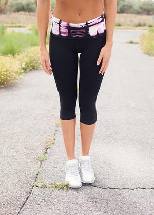 Bamboo Capri Pants Pink/Black