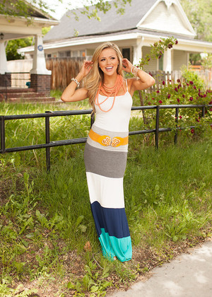 Stripes of Summer Maxi Skirt Turquoise CLEARANCE