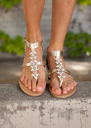 Walk The Line Jewel Light Gold Sandals CLEARANCE