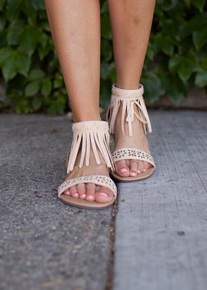 She Walks Away Fringe Sandals in Beige CLEARANCE