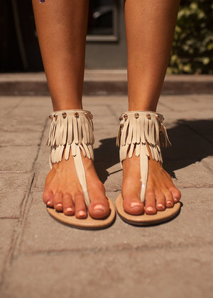 Flat and Fringed Sandals Beige