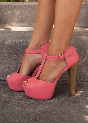 Sweet and Sassy Coral Heels CLEARANCE