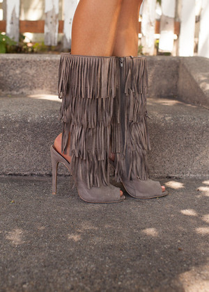 Keeping Me on My Toes Fringe Heels/Boots in Taupe CLEARANCE