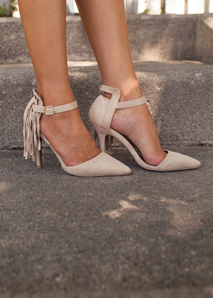 If You Love Me Right Side Fringed Heels Beige