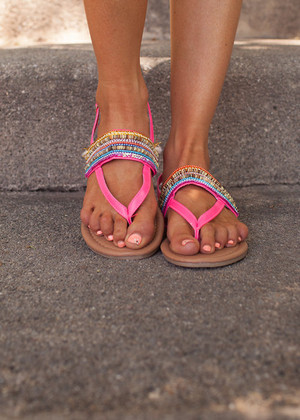 Beautiful Beaded Colorful Sandals Hot Pink