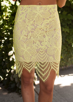 Dotted Lace Scalloped Skirt Bright Yellow CLEARANCE