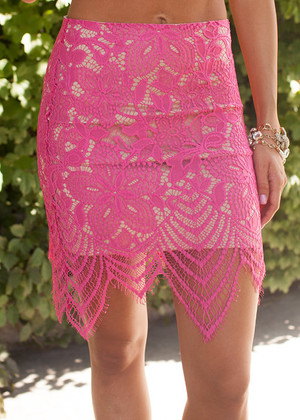 Dotted Lace Scalloped Skirt Hot Pink CLEARANCE