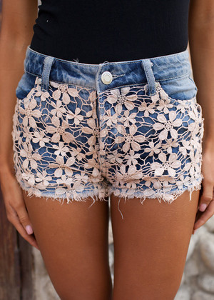 Petals and Lace Denim Shorts CLEARANCE