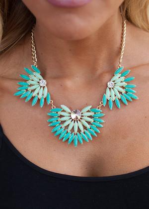 Sunburst Necklace Aqua