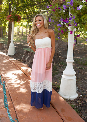 I'm Worth It Maxi Pink/Navy/Ivory CLEARANCE