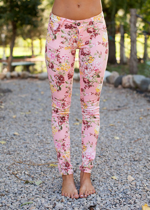 Perfectly Pink Floral Jeggings CLEARANCE