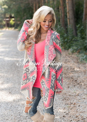 Delighted Pink Aztec Sweater CLEARANCE