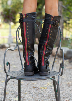 Studded Back Riding Boots Black CLEARANCE
