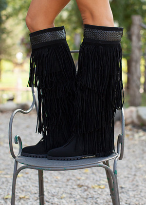 Workin it Fringe Boots Black CLEARANCE