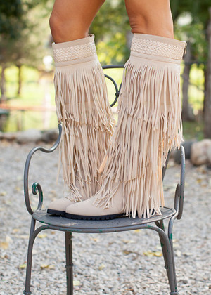 Workin it Fringe Boots Cream CLEARANCE