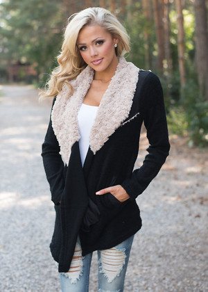 All Cuddled Up Faux Fur Jacket Black CLEARANCE