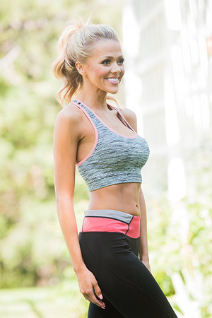 Melange Racerback Sports Bra Strawberry Ice
