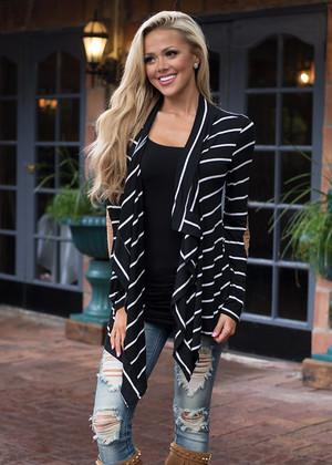 Luscious Striped Beauty Cardigan Black
