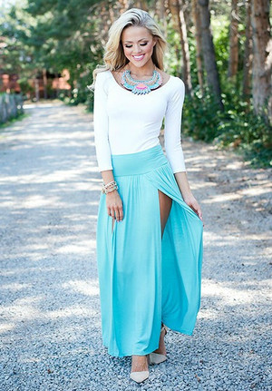 Spicy in a Skirt Turquoise CLEARANCE