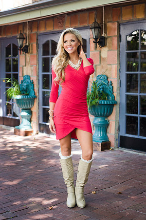Ruched Detail 3/4 Sleeve Tunic/Dress Red