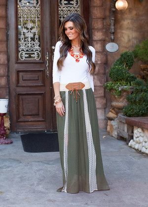 Such a Beauty Maxi Skirt Olive CLEARANCE
