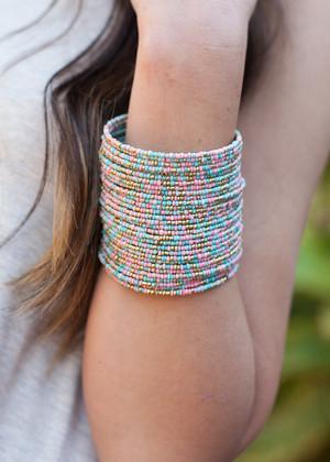 Colorful Beaded Bangle Cuff Bracelet CLEARANCE