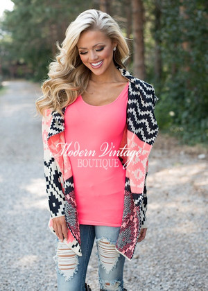 Pixelated Geometric Neon Sweater Pink/Ivory CLEARANCE