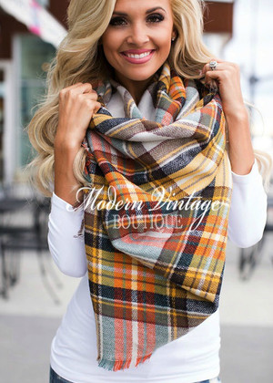 Perfect for Fall Oversized Blanket Scarf Mustard